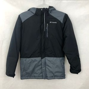 Columbia Youth Hooded Black Gray Winter Coat 10/12